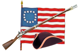 tricorn hat,flag, musket
